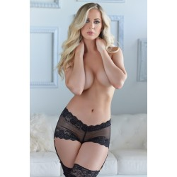 Ivette Lace Shorts with Garters - Black