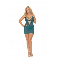 Curvy Turquoise and Lace Babydoll