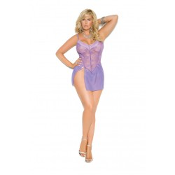 Lace and Mesh Babydoll with Adjustable Straps and Matching G-string