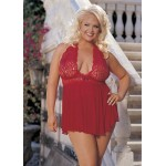 Curvy Lace Babydoll with Bow