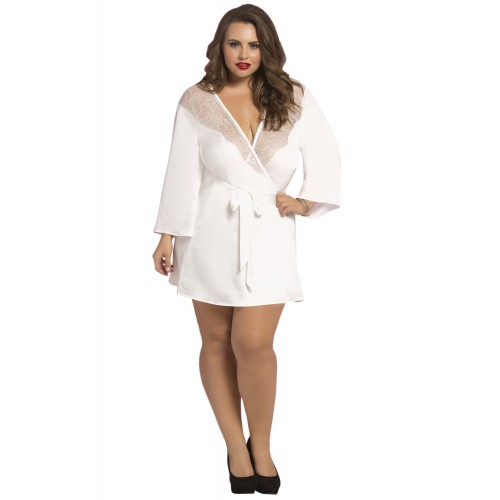 Curvy Satin Eyelash Robe