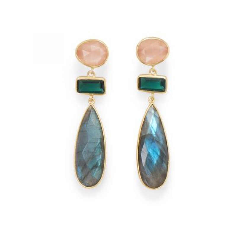 Gold Multi Stone Earrings