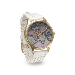 Map Design White Leather Fashion Watch