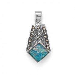 Marcasite and Roman Glass Pendant