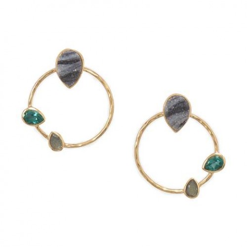 Multi Stone Fashion Earrings