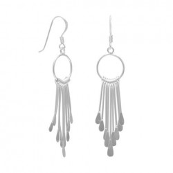 Open Circle/9 Bar Earrings on French Wire