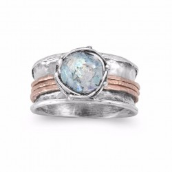 Two Tone Roman Glass Spin Ring